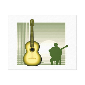 acoustic guitar player sitting yellow.png gallery wrap canvas