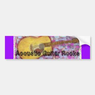 Acoustic Guitar Rocks Bumper Sticker