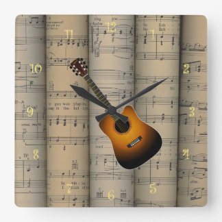 Acoustic Guitar ~ Rolled Sheet Music Background Square Wall Clock