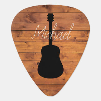 Acoustic Guitar Rustic Wood Calligraphy Name Guitar Pick