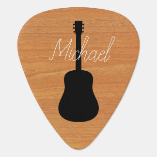 Acoustic Guitar Rustic Wood Script Name Plectrum