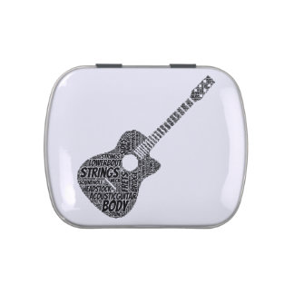 Acoustic Guitar Shaped Word Art Black Text Jelly Belly Tin