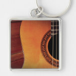 Acoustic Guitar Silver-Colored Square Key Ring