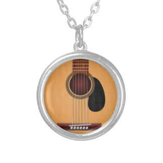 Acoustic Guitar Silver Plated Necklace