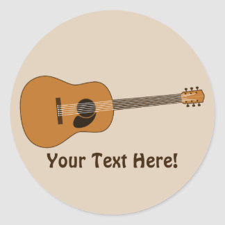 Acoustic Guitar Round Stickers