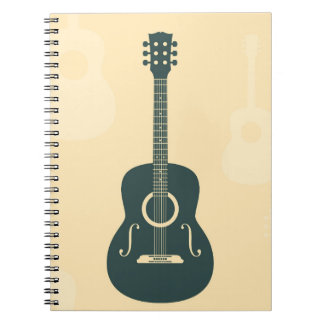 Acoustic guitar stylish retro music notebook
