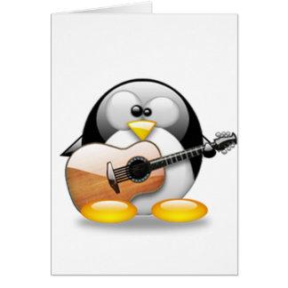Acoustic Guitar Tux Linux Tux Card