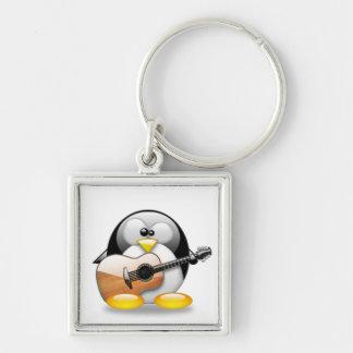 Acoustic Guitar Tux (Linux Tux) Silver-Colored Square Key Ring