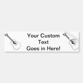 Acoustic Guitar White Outline Guitar Graphic Bumper Sticker