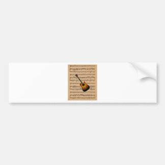 Acoustic Guitar With Sheet Music Background Bumper Sticker