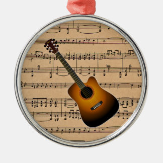 Acoustic Guitar With Sheet Music Background Christmas Ornament