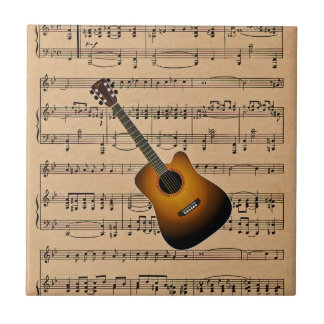 Acoustic Guitar With Sheet Music Background Small Square Tile