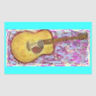 acoustic guitar with yellow patina rectangular stickers