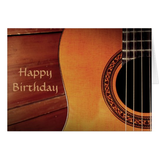 Acoustic Guitar wooden music Happy Birthday Card