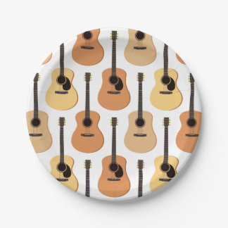 Acoustic Guitars Pattern Paper Plate