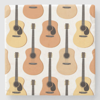 Acoustic Guitars Pattern Stone Coaster