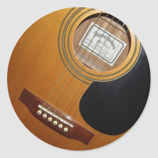 Acoustic Guitars Round Stickers