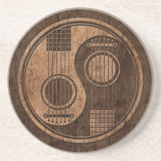 Acoustic Guitars Yin Yang with Wood Grain Effect Coaster