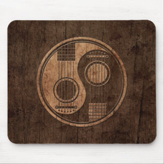 Acoustic Guitars Yin Yang with Wood Grain Effect Mouse Pad