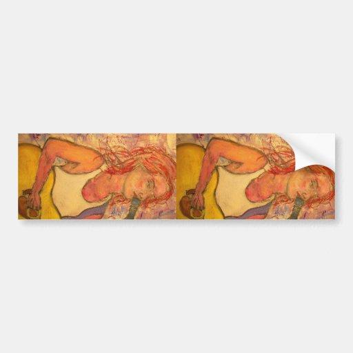 acoustic rock girl art bumper sticker