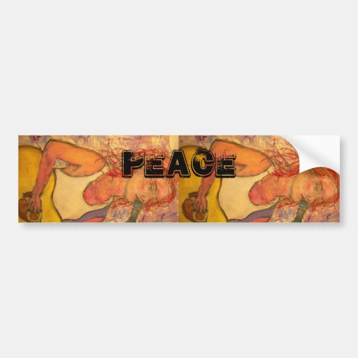 acoustic rock girl Peace Bumper Sticker