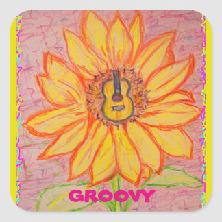 Acoustic Sunflower groovy Square Sticker