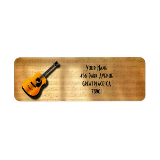 Acoustic Vintage Guitar With Musician Custom Name Return Address Label