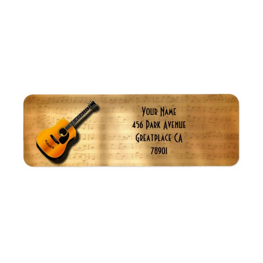 Acoustic Vintage Guitar With Musician Custom Name Return Address Label