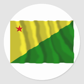 Acre, Brazil Waving Flag Round Stickers