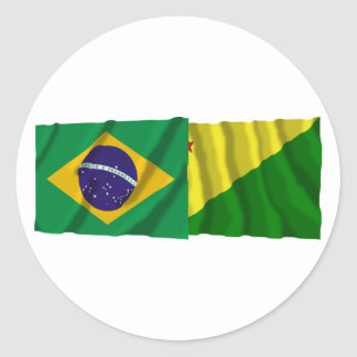 Acre &  Brazil Waving Flags Round Stickers