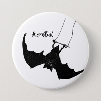 AcroBat Buttons Big Black Bat on trapeze