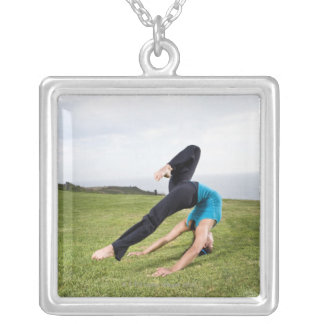 Acrobats and Contortionists Silver Plated Necklace