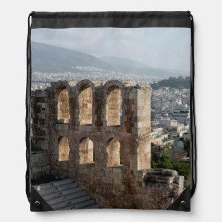 Acropolis Ancient ruins overlooking Athens Drawstring Bag