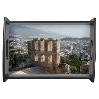 Acropolis Ancient ruins overlooking Athens Serving Tray