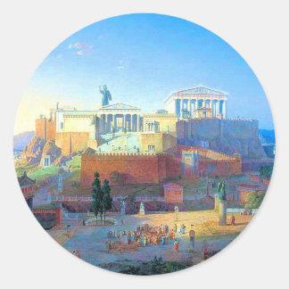 Acropolis in Greece Round Sticker