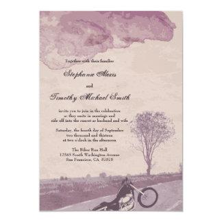 Across the road motorcycle wedding invitation