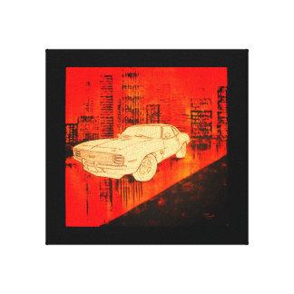 Acrylic classic car cityscape canvas print