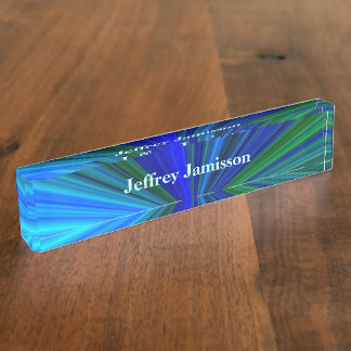 Acrylic Desk Nameplate, Blue and Green Starburst Desk Name Plates