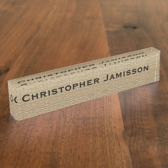 Acrylic Desk Nameplate, Gold and Black Name Plate