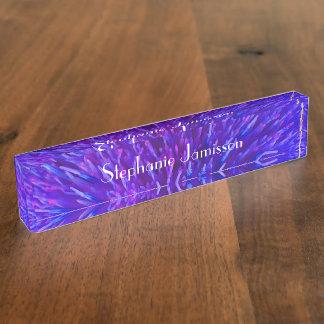 Acrylic Desk Nameplate, Purple Abstract Desk Nameplates