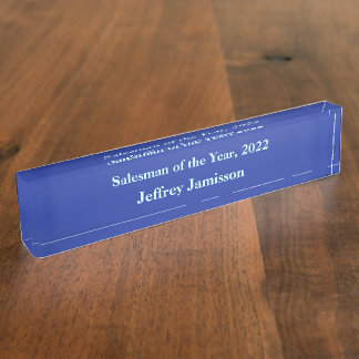 Acrylic Desk Nameplate, Salesman of the Year Blue Name Plate