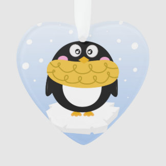 Acrylic heart Ornament with Penguin