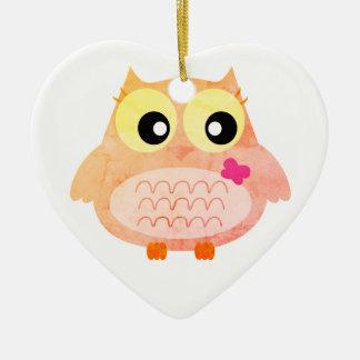 Acrylic kids heart with Owl Christmas Ornament
