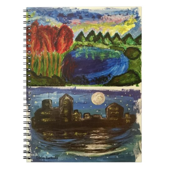 Acrylic landscape&night town paintings note nest spiral notebook