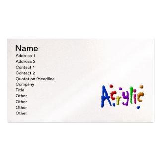 acrylic, Name, Address 1, Address 2, Contact 1,... Business Cards