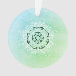 Acrylic ornament with Mandala art / Green