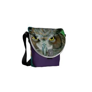 Acrylic Owl (Purple/Turquoise) Commuter Bags