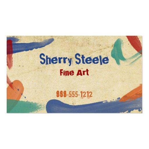 Acrylic Paint - Fingerpainting Business Card Templates