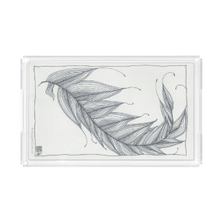 Acrylic Tray, Sophisticated Feather Design Acrylic Tray