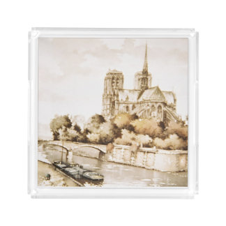 Acrylic tray with 'Notre Dame Cathedral' image